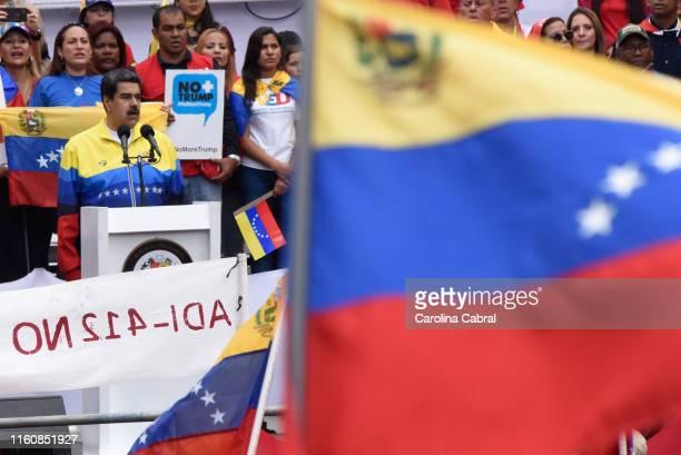 Nicolas Maduro President of Venezuela sings the National Anthem of Venezuela during a speech in an antitrump demostration on August 10 2019 in...