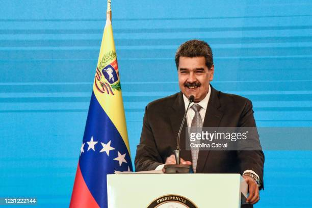 Nicolas Maduro President of Venezuela smiles in a press conference in Miraflores Palace on February 17, 2021 in Caracas, Venezuela. Nicolas Maduro...