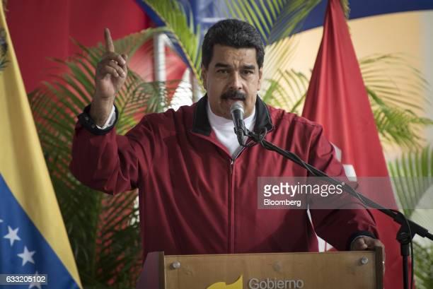 Nicolas Maduro president of Venezuela speaks during a swearing in ceremony for the new board of directors of Petroleos de Venezuela SA Venezuela's...