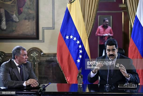 Nicolas Maduro president of Venezuela speaks to the media after Igor Sechin chief executive officer of Rosneft PJSC left and Eulogio del Pino...