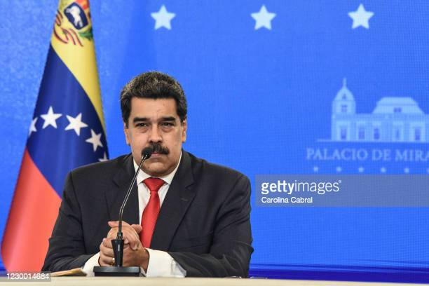 Nicolas Maduro President of Venezuela speaks to the media to give a balance of the recent Parliamentary elections during a press conference at...