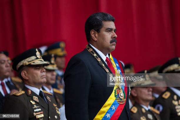 Nicolas Maduro Venezuela's president attends a 'Vow of Loyalty' event at the Ministry of Defense in Caracas Venezuela on Thursday May 24 2018 Maduro...