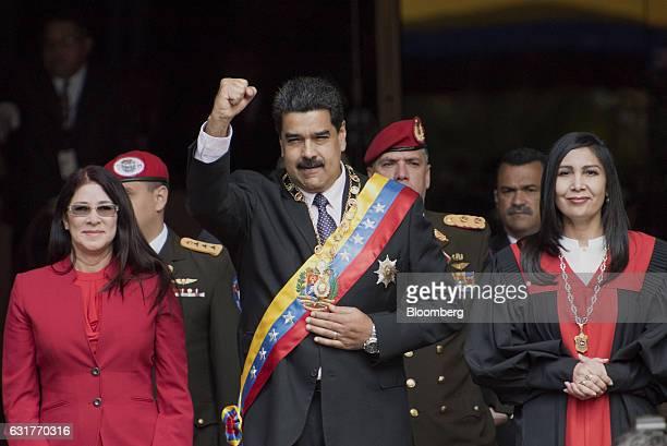 Nicolas Maduro Venezuela's president center arrives with his wife Cilia Flores left and Gladys Gutierrez president of the Venezuelan Supreme Court...