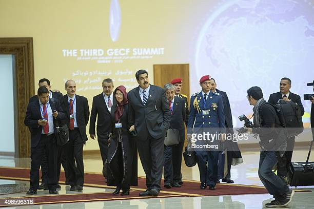 Nicolas Maduro Venezuela's president center departs after attending the Gas Exporting Countries Forum summit in Tehran Iran on Monday Nov 23 2015 The...