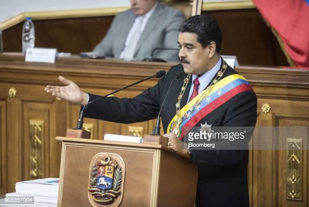 Nicolas Maduro Venezuela's president delivers a speech at the Federal Legislative Palace ahead of a speech in Caracas Venezuela on Monday Jan 15 2018...