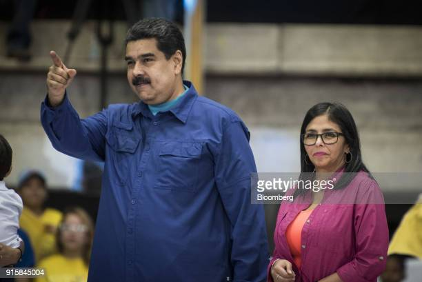 Nicolas Maduro Venezuela's president gestures during a rally in Caracas Venezuela on Wednesday Feb 7 2018 Maduro and his allies have exited the...