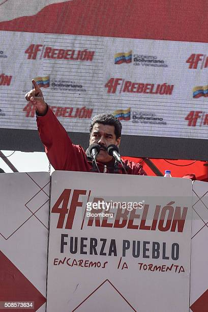 Nicolas Maduro Venezuela's president gestures while speaking at a rally to commemorate the 24th anniversary of former Venezuelan President Hugo...
