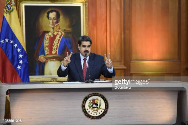 Nicolas Maduro Venezuela's president gestures while speaking during a televised press conference in Caracas Venezuela on Friday Jan 25 2019 Maduro...