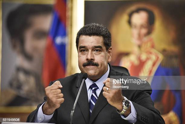 Nicolas Maduro Venezuela's president gestures while speaking during a news conference in Caracas Venezuela on Tuesday May 17 2016 Earlier this month...
