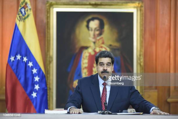 Nicolas Maduro Venezuela's president pauses while speaking during a televised press conference in Caracas Venezuela on Friday Jan 25 2019 Maduro...