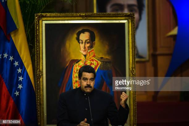 Nicolas Maduro Venezuela's president pauses while speaking during a news conference in Caracas Venezuela on Tuesday Aug 22 2017 Madurosaid...