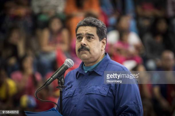 Nicolas Maduro Venezuela's president pauses while speaking during a rally in Caracas Venezuela on Wednesday Feb 7 2018 Maduro and his allies have...