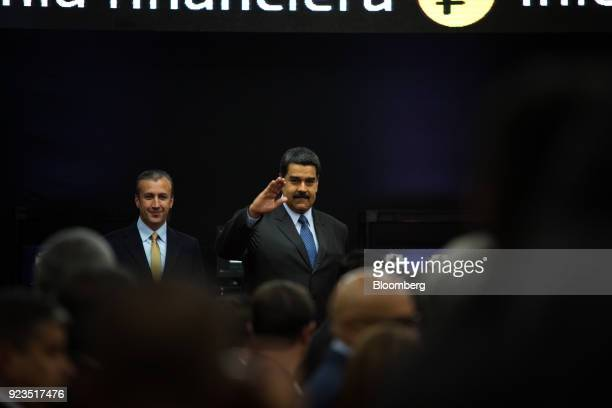 Nicolas Maduro Venezuela's president right and Tareck El Aissami Venezuela's vice president arrive for the Petro cryptocurrency launch event in...