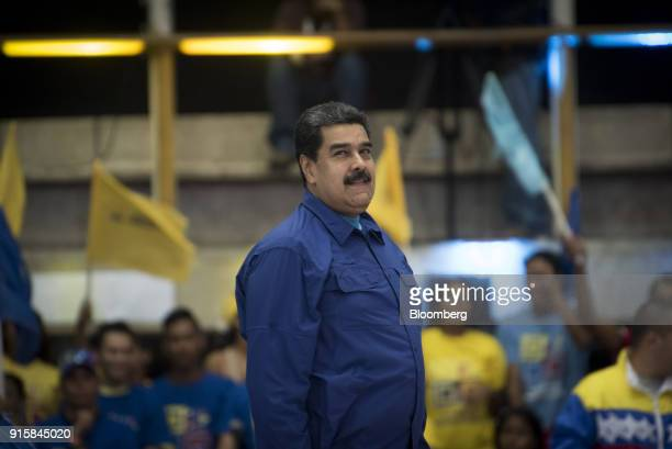 Nicolas Maduro Venezuela's president smiles during a rally in Caracas Venezuela on Wednesday Feb 7 2018 Maduro and his allies have exited the United...