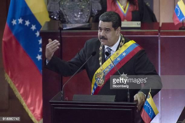 Nicolas Maduro Venezuela's president speaks during a judiciary event before the Supreme Court in Caracas Venezuela on Wednesday Feb 14 2018 Peruvian...