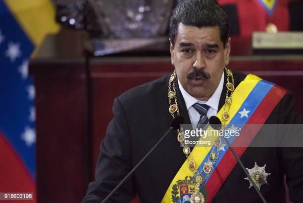 Nicolas Maduro Venezuelas president speaks during a judiciary event before the Supreme Court in Caracas Venezuela on Wednesday Feb 14 2017 Peruvian...