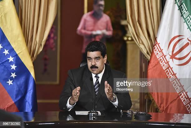 Nicolas Maduro Venezuela's president speaks during a meeting between Iranian delegation and Venezuelan officials in Caracas Venezuela on Saturday Aug...