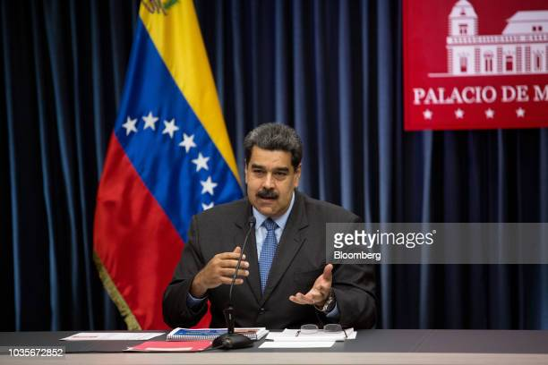 Nicolas Maduro Venezuela's president speaks during a press conference at the presidential palace in Caracas Venezuela on Tuesday Sept 18 2018 A day...
