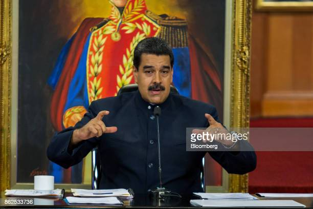 Nicolas Maduro Venezuela's president speaks during a press conference at the Miraflores Palace in Caracas Venezuela on Tuesday Oct 17 2017 In his...