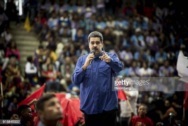 Nicolas Maduro Venezuela's president speaks during a rally in Caracas Venezuela on Wednesday Feb 7 2018 Maduro and his allies have exited the United...