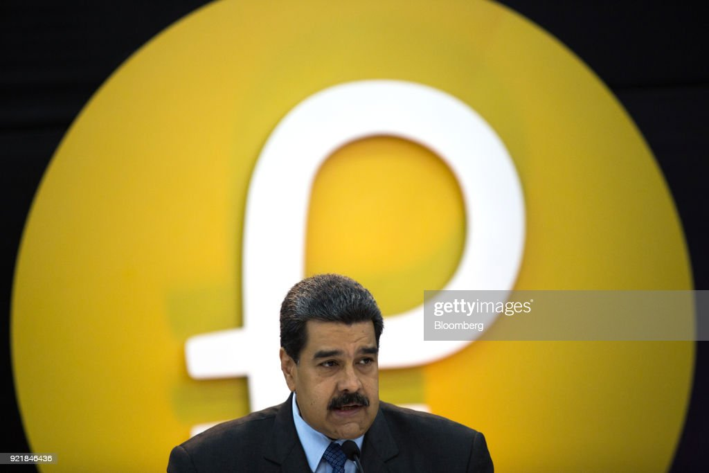 Nicolas Maduro, Venezuela's president, speaks during the Petro cryptocurrency launch event in Caracas, Venezuela, on Tuesday, Feb. 20, 2018. Maduro launched Petro to use as a new alternative payment system amid hyperinflation and the eroding bolivar. Photographer: Wil Riera/Bloomberg via Getty Images