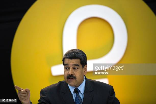 Nicolas Maduro Venezuela's president speaks during the Petro cryptocurrency launch event in Caracas Venezuela on Tuesday Feb 20 2018 Maduro launched...