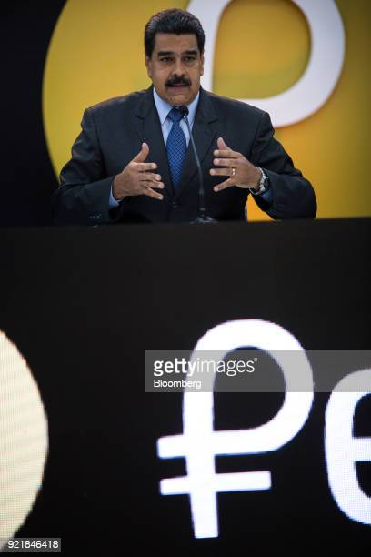 Nicolas Maduro Venezuela's president talks during the Petro cryptocurrency launch event in Caracas Venezuela on Tuesday Feb 20 2018 Maduro launched...