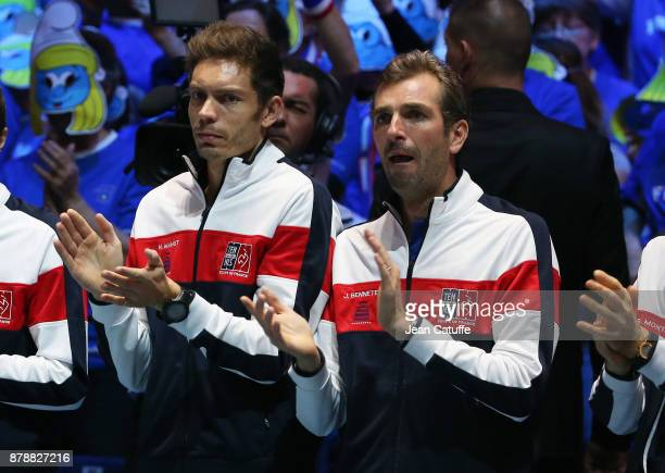 Nicolas Mahut and Julien Benneteau of France during the teams presentation on day 1 of the Davis Cup World Group Final between France and Belgium at...