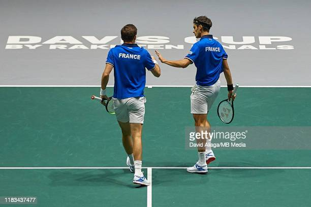 Nicolas Mahut and Pierre Hugue Herbert of France celebrates a point during their double match against Ben MachLachlan and Yasutaka Uchiyama of Japan...