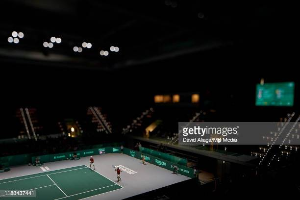 Nicolas Mahut and Pierre Hugue Herbert of France in action during their double match against Ben MachLachlan and Yasutaka Uchiyama of Japan during...