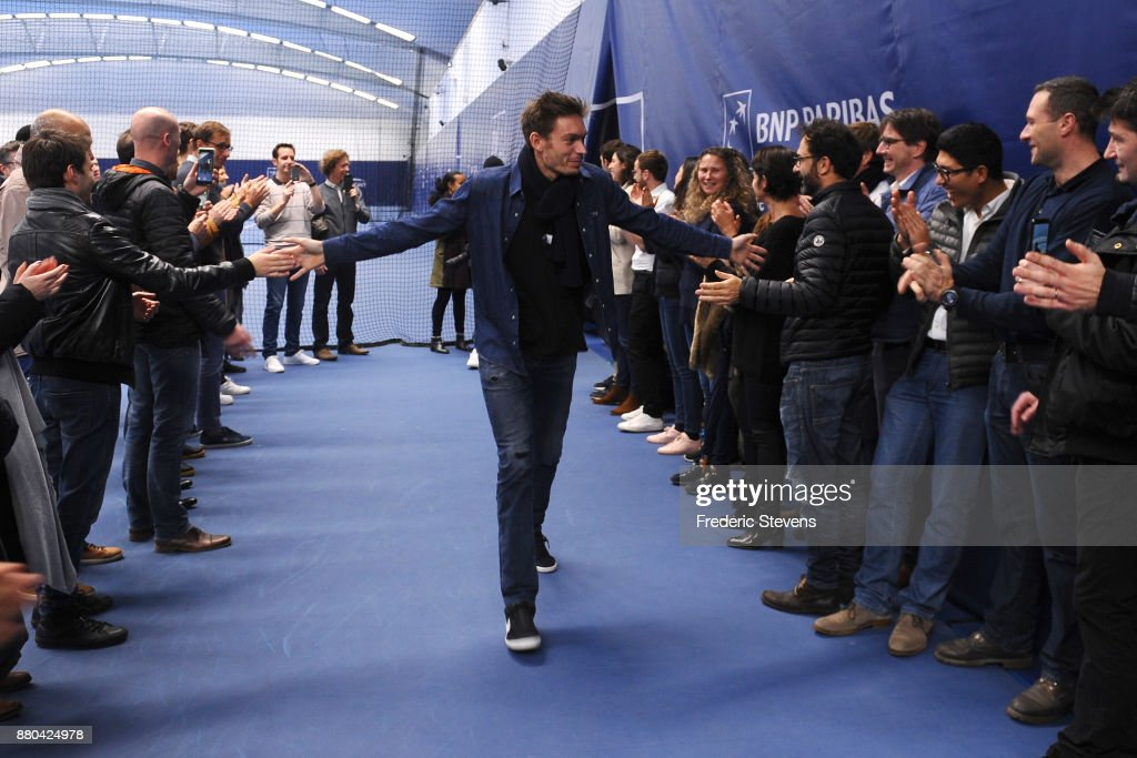 Nicolas Mahut arrives at NTC after victory over Belgium at the weekend in Villeneuve d'Ascq, on November 27, 2017 in Paris, France.