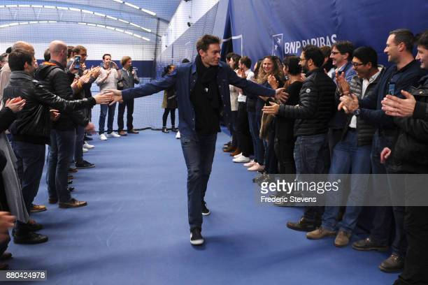 Nicolas Mahut arrives at NTC after victory over Belgium at the weekend in Villeneuve d'Ascq on November 27 2017 in Paris France