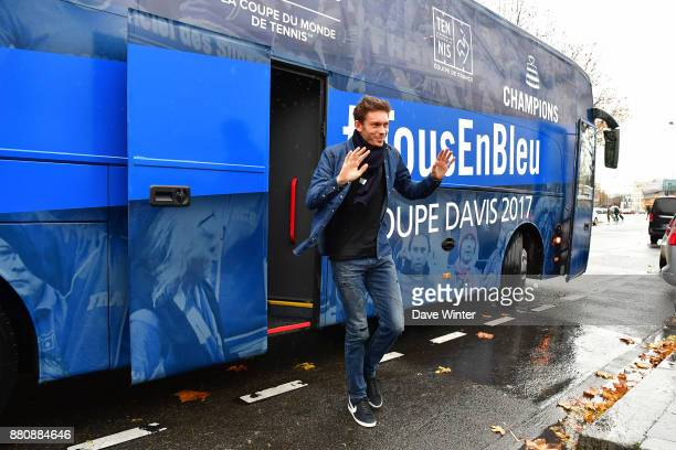 Nicolas Mahut arrives for the presentation of the Davis Cup winning team to the staff of the French Tennis Federation at Roland Garros on November 27...