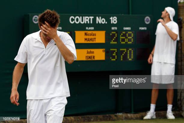 Nicolas Mahut of France after losing on the third day of his first round match against John Isner of USA on Day Four of the Wimbledon Lawn Tennis...