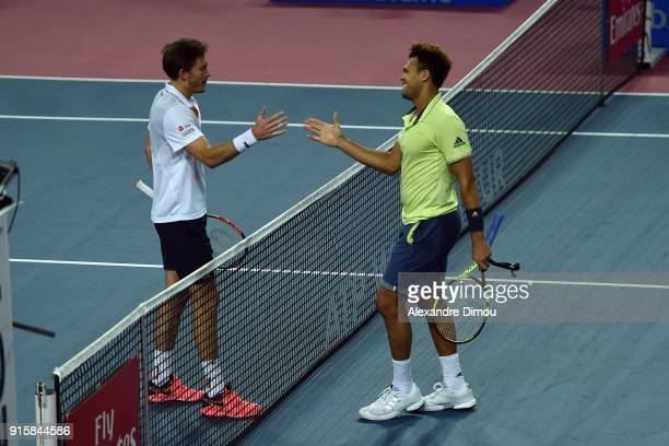Nicolas Mahut of France and Jo Wilfried Tsonga of France during the Open Sud of France ATP Montpellier on February 8 2018 in Montpellier France