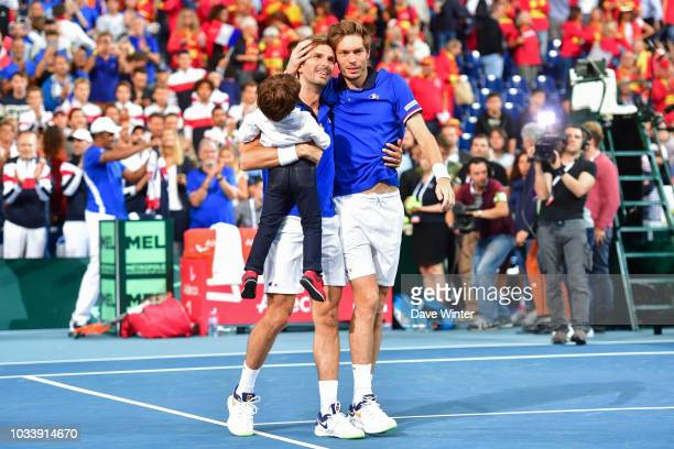 Nicolas Mahut of France and Julien Benneteau of France after France gain an unassailable 30 lead during Day 2 of the Davis Cup semi final on...