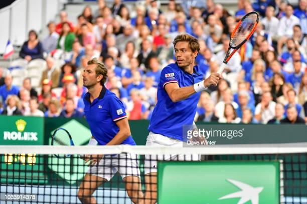 Nicolas Mahut of France and Julien Benneteau of France during Day 2 of the Davis Cup semi final on September 15 2018 in Lille France