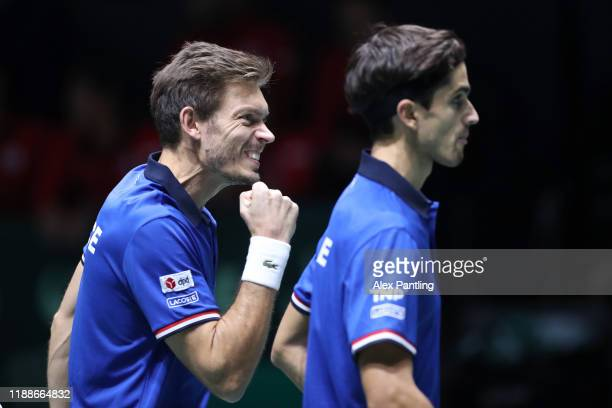 Nicolas Mahut of France celebrates during Day 2 of the 2019 Davis Cup at La Caja Magica on November 19 2019 in Madrid Spain