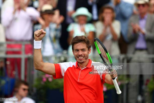 Nicolas Mahut of France celebrates victory during his Second Round Singles Match against Stan Wawrinka of Switzerland during day Four of the...