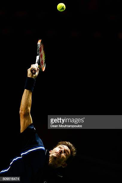 Nicolas Mahut of France in action against Jeremy Chardy of France during day 4 of the ABN AMRO World Tennis Tournament held at Ahoy Rotterdam on...