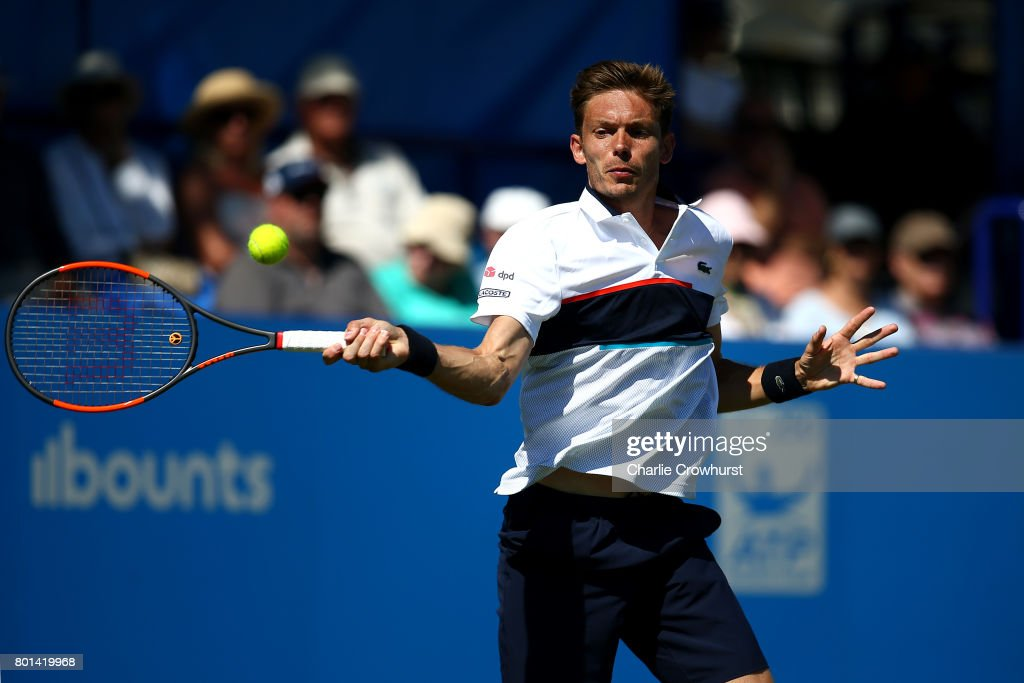Nicolas Mahut of France in action during his first round match against Robin Haase of the Netherlands during day two of the Aegon International Eastbourne on June 26, 2017 in Eastbourne, England.