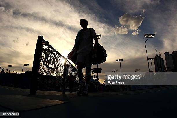 Nicolas Mahut of France leaves the court after winning his first round match against Radek Stepanek of the Czech Republic during day two of the 2012...