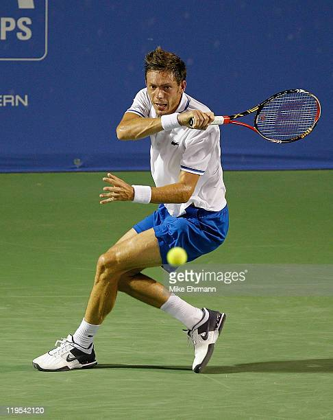 Nicolas Mahut of France plays a forehand during a match against Mardy Fish at the Atlanta Tennis Championships at the Racquet Club of the South on...