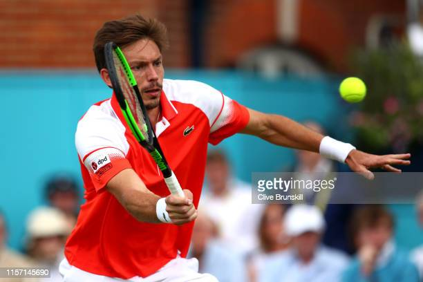Nicolas Mahut of France plays a forehand during his Second Round Singles Match against Stan Wawrinka of Switzerland during day Four of the Fever-Tree...