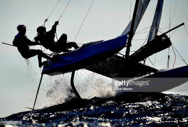 Nicolas Martin and Romy Mackenbrock of USA in action during a Nacra 17 class race on May 14 2019 in Weymouth England
