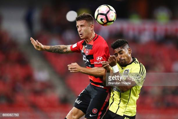 Nicolas Martinez of the Wanderers competes with Roy Krishna of the Phoenix during the round 23 ALeague match between the Western Sydney Wanderers and...