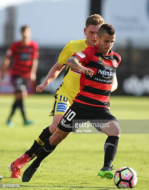 Nicolas Martinez of the Wanderers controls the ball during the round nine A-League match between Central Coast Mariners and the Western Sydney...