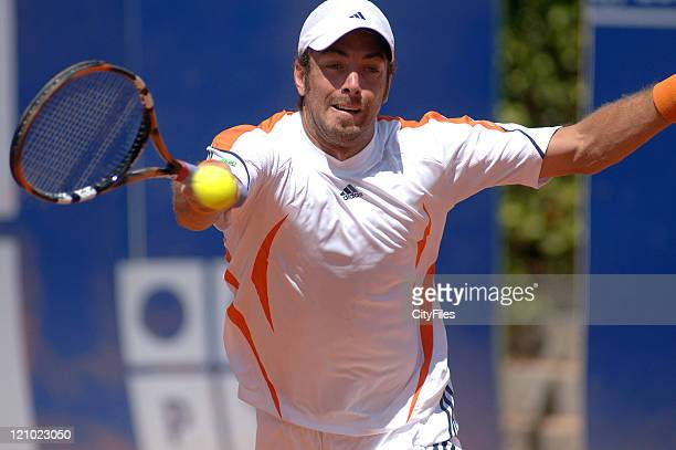 Nicolas Massu during a match against Justin Gimelstob in the second round of the Estoril Open at Estadio Nacional in Estoril Portgual on May 3 2006