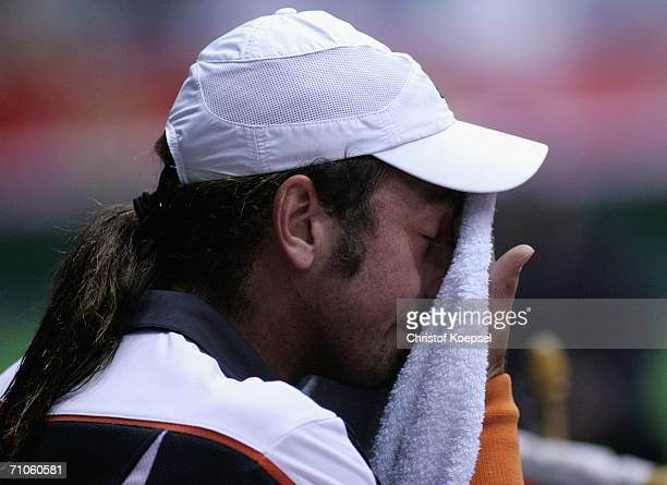 Nicolas Massu of Chile is disappointed during the match against Mario Ancic of Croatia in action against Nicolas Massu of Chile during Day 6 of the...