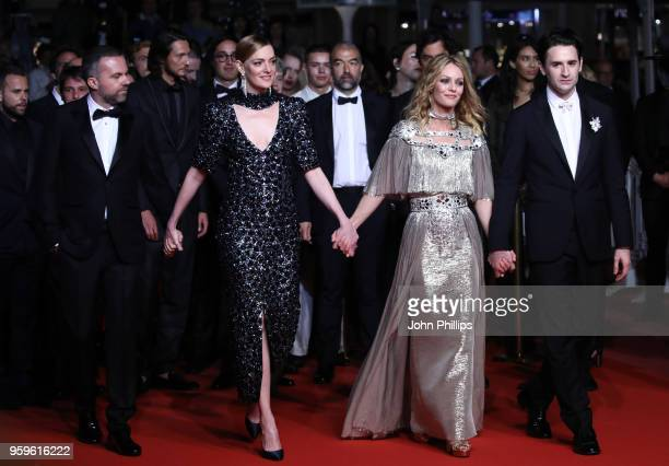 Nicolas Maury Vanessa Paradis Yann Gonazalez and Kate Moran attend the screening of 'Knife Heart ' during the 71st annual Cannes Film Festival at...